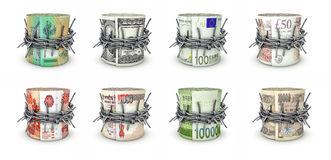 Forbidden money rolls Royalty Free Stock Photo