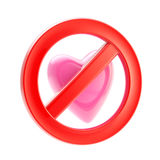Forbidden not allowed love sign. Forbidden not allowed love red glossy sign icon isolated on white Stock Image