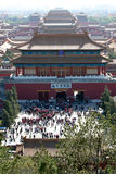 Forbidden Palace in Beijing. A bird's eye view over the entrance of the Forbidden Palance in Beijing China Royalty Free Stock Images