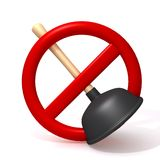 Forbidden Plunger 3d illustration Stock Photo
