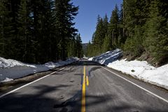 Forbidden road in Crater lake Stock Image