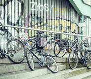 Forbidden rule, people parking lot of bicycles at place with no parkingplace Royalty Free Stock Images