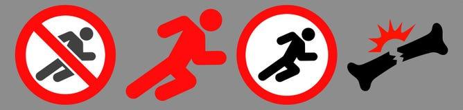 Forbidden Running Man Icon Set stock illustration