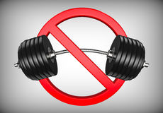 Forbidden sign with barbell or dumbbell. Bodybuilding, GYM and weight lifting is prohibited Stock Images