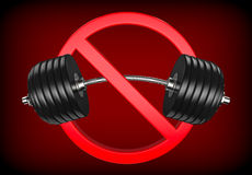Forbidden sign with barbell or dumbbell. Bodybuilding, GYM and weight lifting is prohibited on red background. Stock Photography