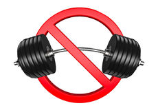 Forbidden sign with barbell or dumbbell. Bodybuilding, GYM and weight lifting is prohibited on white background. Royalty Free Stock Photo