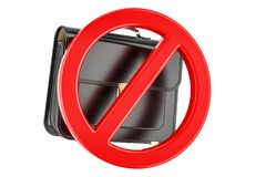 Forbidden sign with briefcase, 3D rendering. Isolated on white background Royalty Free Stock Photos