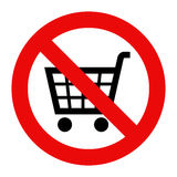 Forbidden sign with cart icon. Isolated on white background Stock Photography