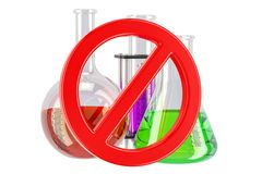 Forbidden sign with chemical flasks, 3D rendering. Isolated on white background Stock Photo