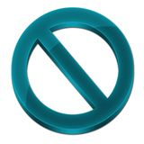 Forbidden sign 3D sky blue color. Forbidden sign 3D icon synbol logo sky blue color Stock Image