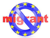 Forbidden sign with EU flag an migrant. Migrant crisis concept. 3D render Stock Photos