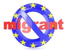 Forbidden sign with EU flag an migrant. Migrant crisis concept. 3D render Stock Photos