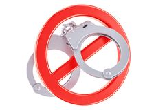 Forbidden sign with handcuffs, 3D rendering. Isolated on white background Royalty Free Stock Photo