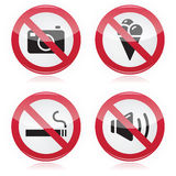 Forbidden sign: no cameras, no food, no smoking, n Royalty Free Stock Images