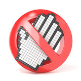 Forbidden sign with open hand cursor. 3D render Royalty Free Stock Photo