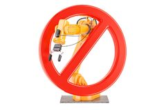 Forbidden sign with robotic arm, 3D rendering. Isolated on white background Stock Photos