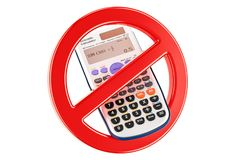 Forbidden sign with scientific calculator, 3D rendering. Isolated on white background Stock Images