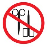 Forbidden sign with scissors glyph icon. No cutting prohibition. Stop silhouette symbol. Negative space. Vector isolated illustration Royalty Free Stock Images