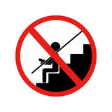 Forbidden sign sitting down stairs Royalty Free Stock Images