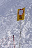 Forbidden sign for snow track access 2. Closed snow track access, marked with an forbidden sign Stock Images