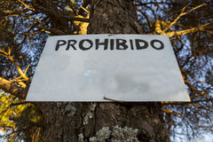 Forbidden sign on tree Stock Photography
