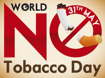 Forbidden Signal over Cigarette for Awareness in No Tobacco Day, Vector Illustration. Poster for World No Tobacco Day with awareness message with forbidden sign Stock Photos