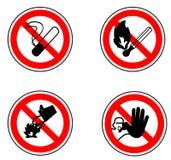Forbidden Signpost. No Smoking, Inflammable, Don't use water, NO trespassing royalty free illustration
