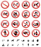 Forbidden signs set. The collection of forbidden signs, with several printable versions, isolated on the white background Royalty Free Stock Images