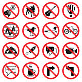 Forbidden signs. Set of forbidden signs with different designations Royalty Free Stock Image