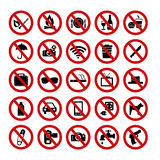 Forbidden signs. Set of forbidden signs with different designations Royalty Free Stock Photo