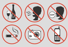 Forbidden signs.Vector illustration. Forbidden signs. Prohibition of alcohol consumption, loud screaming, chewing gum, smoking, photographing, talking on a Royalty Free Stock Images