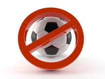Forbidden symbol with soccer ball. On white background Royalty Free Stock Photography
