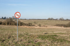 Forbidden tank sign on a field Stock Images