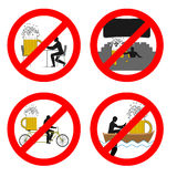 Forbidden to drink alcohol in public places. Stop mug of beer at Stock Photos