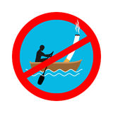 Forbidden to smoke on boat. Red sign prohibiting smoking.  Stock Image