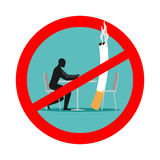 Forbidden to smoke in cafes. Ban smoking. Red sign and crossed c Royalty Free Stock Photos
