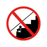 Forbidden warning sign babies stairs Royalty Free Stock Photo