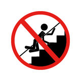 Forbidden warning sign crawling on stairs Stock Photos