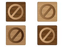 Forbidden wooden button Royalty Free Stock Image
