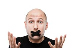 Scared adult man adhesive tape closed mouth Stock Photos