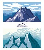 Forbidding mountains. Mountain climbing. Adventure. Nature. Color illustration. Royalty Free Stock Images