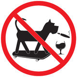 Forbidding Sign. Forbidding vector sign. No dog, skateboard, wine and smoking Royalty Free Stock Photo