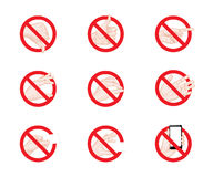Forbidding Signs business hand gestures icons Stock Photography