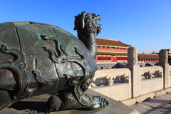 The Forbiden City Copper tortoise. It is sculpture outside of the TaiHe Palace of the forbiden City Royalty Free Stock Image