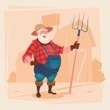 Forcado Hay Harvest da posse de Working On Farm do fazendeiro ilustração royalty free