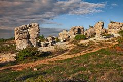 Forcalquier, Provence, France: Rochers des Mourres, strange geological formation. Forcalquier, Provence, France: Rochers des Mourres, landscape at dawn of the stock photos