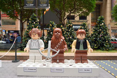 The Force Awakens exhibition in Times Square. HONG KONG - CIRCA DECEMBER, 2015: life-sized Lego figures of  Princess Leia, Chewbacca, Han Solo at the Force Stock Photo