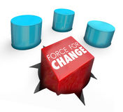 Force For Change Square Peg Improve Increase Success Performance Stock Photo