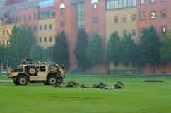 Force d'armée britannique pendant l'exposition militaire de démonstration Photographie stock libre de droits