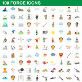 100 force icons set, cartoon style Royalty Free Stock Photo